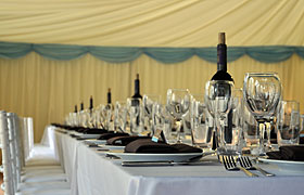 Marquee interior place setting
